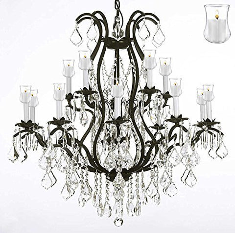"Wrought Iron Chandelier Crystal Chandeliers Lighting With Candle Votives H36"" X W36"" - A83-B31/3034/10+5"