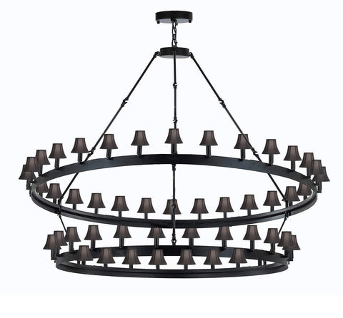"Wrought Iron Vintage Barn Metal Castile Chandelier Industrial Loft Rustic Lighting W 63"" H 60"" w/Black Shades Great for The Living Room, Dining Room, Foyer and Entryway, Family Room, and More - G7-BLACKSHADES/3428/54"