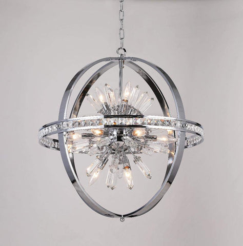 "Spherical Orb Chandelier Chandeliers Lighting Chrome Color H 24"" W 24"" - Great for the Kitchen, Dining Room, Living Room, Bedroom, Family Room and more - G7-2155/12"