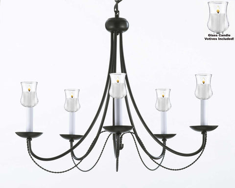 "Empress Crystal (Tm) Chandelier W/ Candle Votives H22.5"" W26"" - For Indoor / Outdoor Use Great For Outdoor Events Hang From Trees / Gazebo / Pergola / Porch / Patio / Tent - J10-B31/26031/5"