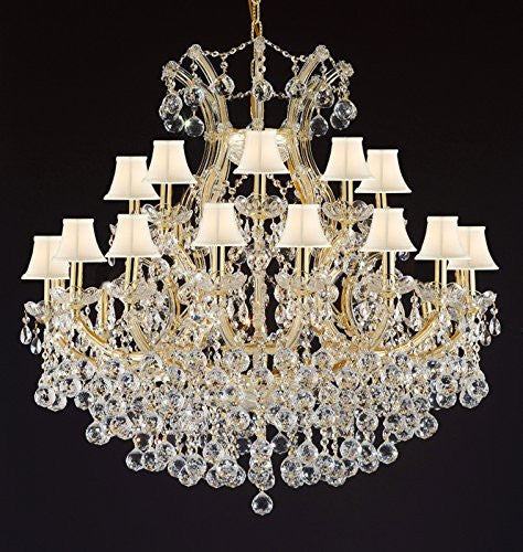 "Maria Theresa Empress Crystal(Tm) Chandelier Lighting With White Shades H 36"" W 36"" - Cjd-B6/Cg/Sc/2181/36"