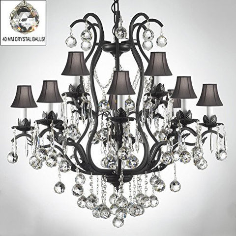 Swarovski Crystal Trimmed Chandelier Wrought Iron Crystal Chandelier Lighting Dressed W/ Crystal Balls & Shades - A83-B6/Sc/3034/8+4 -Black Shades Sw