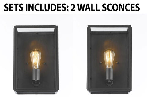 "Setof2 - Union Filament Clear Glass Wide Wall Sconce - Good For Outdoor Lighting & Indoor Use - Wrought Iron Vintage Barn Metal Industrial Urban Loft Rustic Wall Mount Lighting-Size: 9""W X 6""D X 14""H - G7-3162/1-SET OF 2"