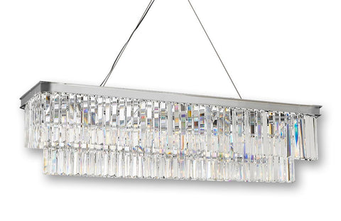 Retro Palladium Glass Fringe Rectangular Chandelier Chandeliers Lighting Chrome Finish 47'' Wide - G7-2164/10