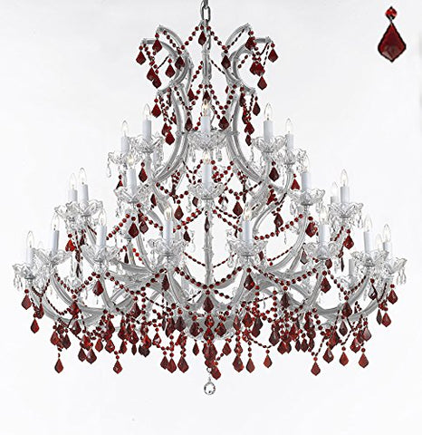 "Crystal Chandelier Lighting Chandeliers H49"" W52"" Dressed with Ruby Red Crystals! Great for the Foyer, Entry Way, Living Room, Family Room and More! - A83-B2/SILVER/756/36+1 RED"