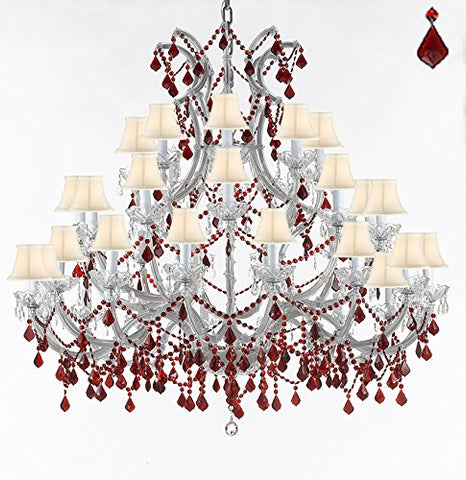 "Crystal Chandelier Lighting Chandeliers H49"" W52"" Dressed with Ruby Red Crystals! Great for the Foyer, Entry Way, Living Room, Family Room and More! w/White Shades - A83-B2/WHITESHADES/SILVER/756/36+1 RED"