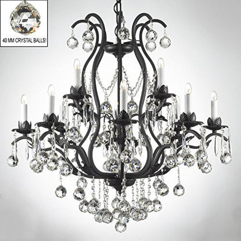 "Swarovski Crystal Trimmed Chandelier Wrought Iron Crystal Chandelier Lighting Dressed W/ Crystal Balls H36"" W36"" - A83-B6/3034/10+5 Sw"