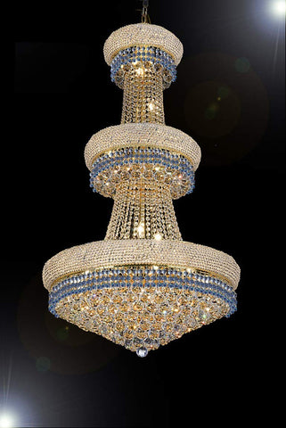 "French Empire Crystal Chandelier Chandeliers Lighting Trimmed with Blue Crystal! Good for Dining Room, Foyer, Entryway, Family Room and More! H50"" X W30"" - G93-B83/CG/541/24"
