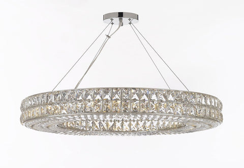 "Crystal Spiridon Ring Chandelier Chandeliers Modern / Contemporary Lighting Pendant 44"" Wide - Good for Dining Room, Foyer, Entryway, Family Room and More! - GB104-3063/17"