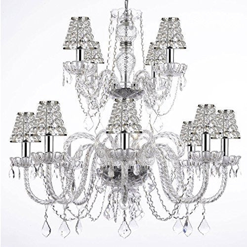 Empress Crystal (Tm) Chandelier Lighting With Chrome Sleeves And Crystal Shades - F46-B32/B43/385/8+4
