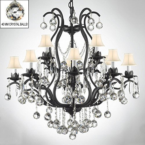 "Wrought Iron Empress Crystal (Tm) Chandelier Lighting Dressed W/ Crystal Balls H36"" W36"" With Shades - A83-B6/Sc/3034/10+5-Whiteshades"