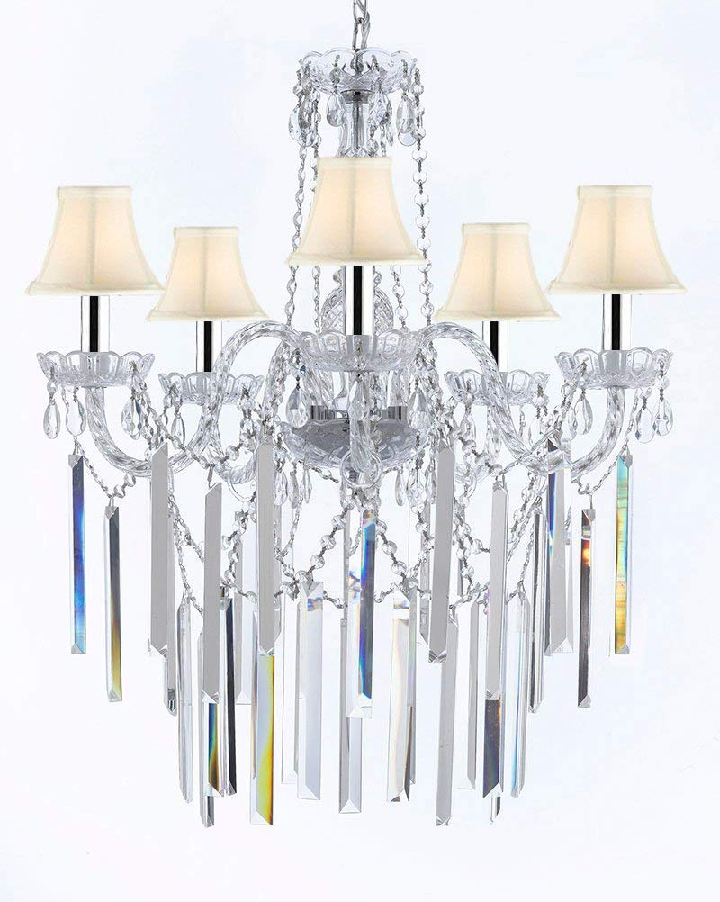 "Authentic All Empress Crystal (tm) Chandelier Lighting Optical-quality Fringe Prisms With White Shades w/Chrome Sleeves! H30"" X W24"" - G46-B43/B40/SC/Whiteshades/3/384/5"