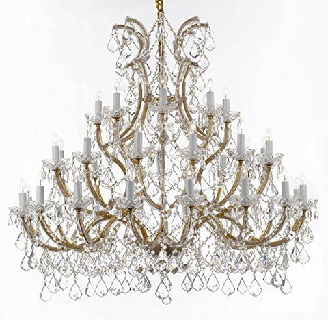 Chandelier Crystal Chandeliers Lighting 52X46 Trimmed With Spectratm Crystal - Reliable Crystal Quality By Swarovski - Gb104-Gold/756/36+1Sw