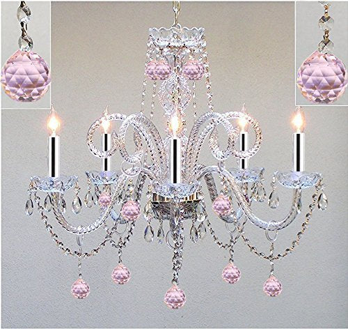 Chandelier Lighting Dressed w/Pink Balls with Chrome Sleeves! H25 X W24 Chandelier Lighting! - GO-A46-B43/BALLS/387/5/PINK