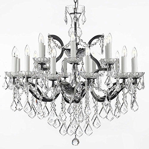 "Swarovski Crystal Trimmed Chandelier 19Th C. Rococo Iron & Crystal Chandelier Lighting H 28"" X W 30"" - A83-995/18Sw"