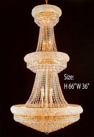 "Swarovski Crystal Trimmed Chandelier Empire Chandelier Lighting W/ Swarovski Crystal H66"" X W36"" - Perfect For An Entryway Or Foyer - F93-Cg/541/32Sw"