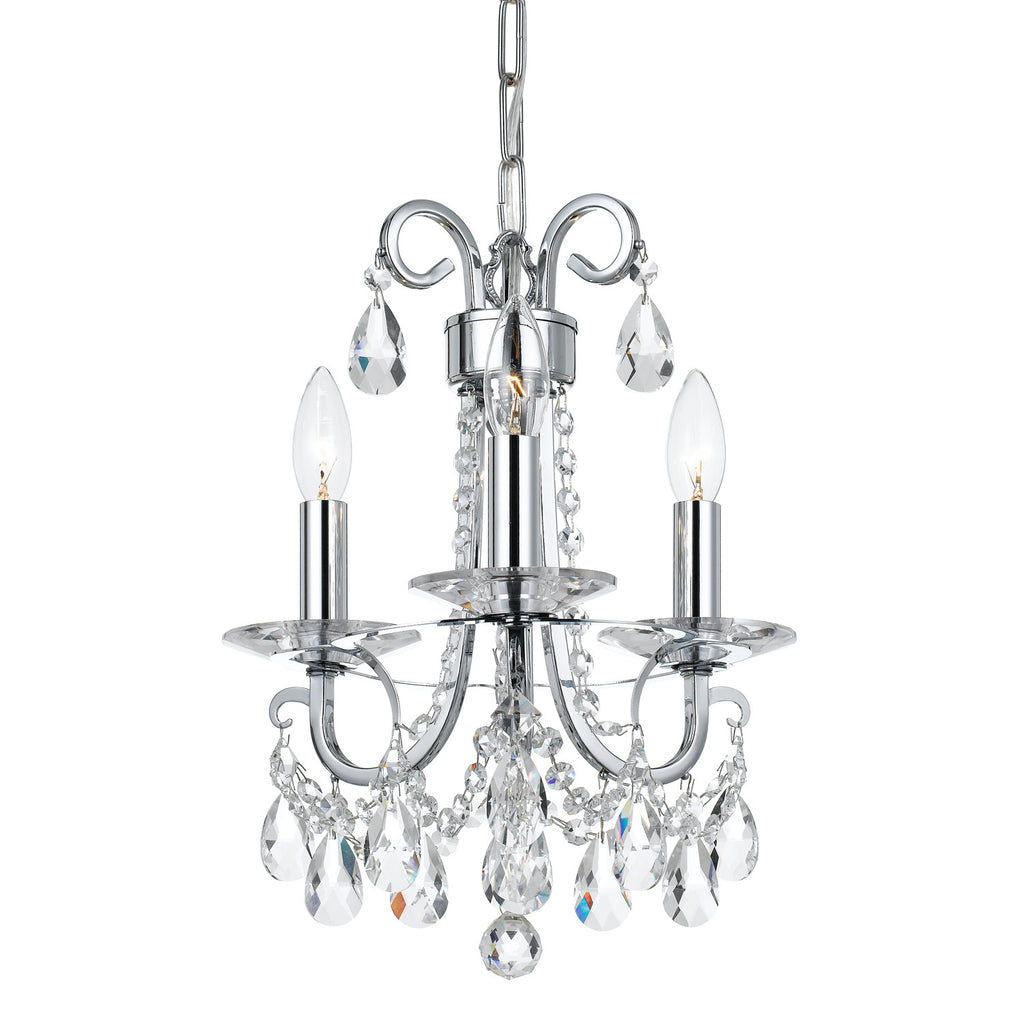 3 Light Polished Chrome Transitional  Modern Mini Chandelier Draped In Clear Hand Cut Crystal - C193-6823-CH-CL-MWP