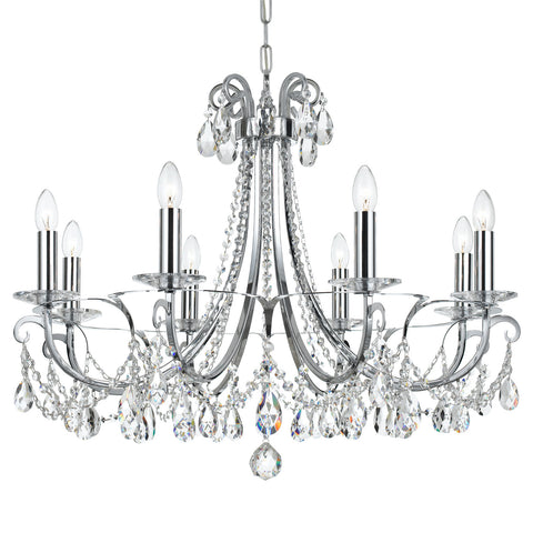 8 Light Polished Chrome Transitional  Modern Chandelier Draped In Clear Hand Cut Crystal - C193-6828-CH-CL-MWP