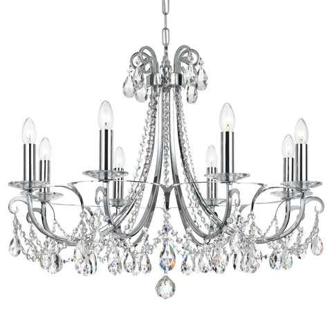 8 Light Polished Chrome Transitional  Modern Chandelier Draped In Clear Swarovski Strass Crystal - C193-6828-CH-CL-S