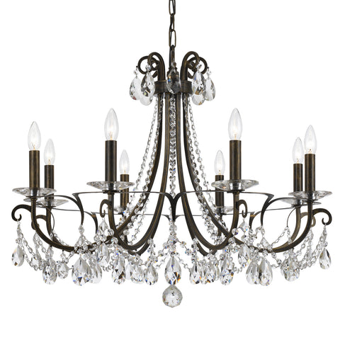 8 Light English Bronze Transitional  Modern Chandelier Draped In Clear Hand Cut Crystal - C193-6828-EB-CL-MWP