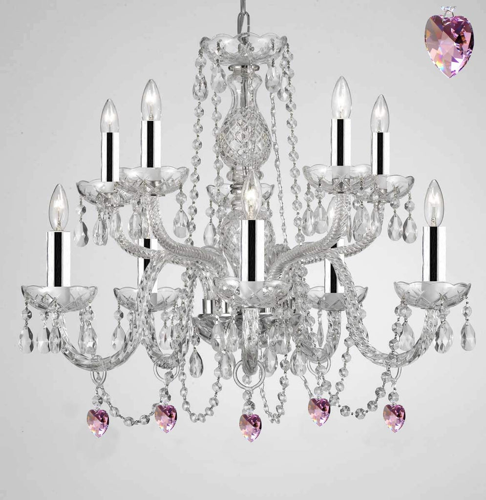 Empress Crystal (Tm) Chandelier Chandeliers Lighting with Pink Color Crystal w/Chrome Sleeves! - G46-B43/B21/1122/5+5