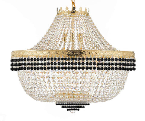 "Nail Salon French Empire Crystal Chandelier Lighting Dressed with Jet Black Crystal Balls - Great for The Dining Room, Foyer, Entryway and More! H 30"" W 36"" 25 Lights - G93-B75/H30/CG/4199/25"