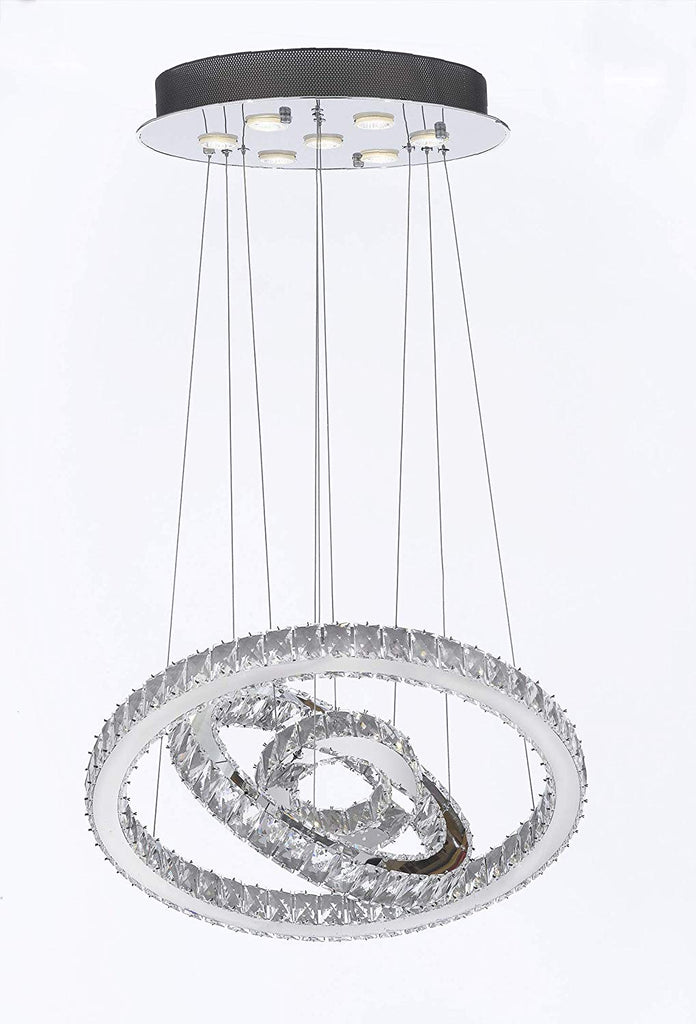 "Crystal Elipse 3 Ring Chandelier Chandeliers Modern/Contemporary Lighting 23"" Wide w/Adjustable Cables- Good for Dining Room Foyer Entryway Family Room and More! - G7-89174/7"