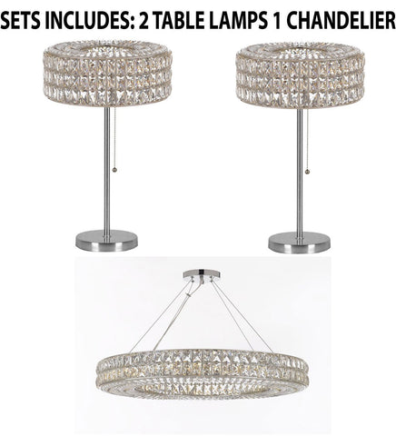 "Set of 3 - 2 Crystal Spiridon Ring Modern / Contemporary Table Lamp Lighting H 28"" W15"" & 1 Crystal Spiridon Ring Chandelier Modern / Contemporary Lighting Pendant 44"" Wide - Good for Dining Room! - 2 EA TL/3063/3 + 1 EA 3063/17"
