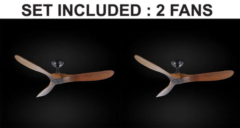 "Set of 2 - Indoor/Outdoor Ceiling Fan - Vintage Rustic Propeller Wood Indoor/Outdor Ceiling Fan - 52"" Diameter - 2EA G7-18/15/4561/52"