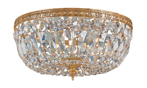 3 Light Olde Brass Traditional Ceiling Mount Draped In Clear Spectra Crystal - C193-712-OB-CL-SAQ