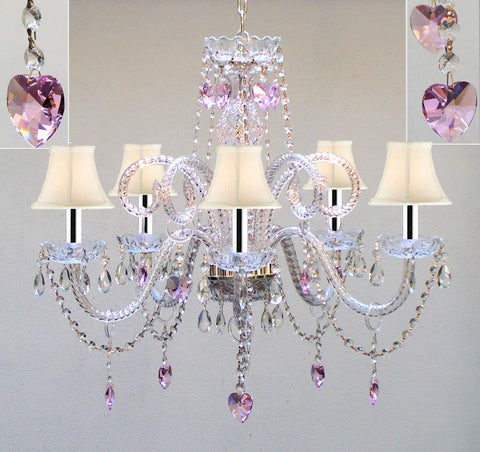 "Chandelier Lighting w/Crystal White Shades & Hearts w/Chrome Sleeves H25"" X W24"" - Perfect for Kid's and Girls Bedroom! - GO-B43/A46-SC/WHTSHADE/HEARTS/387/5/PINK"