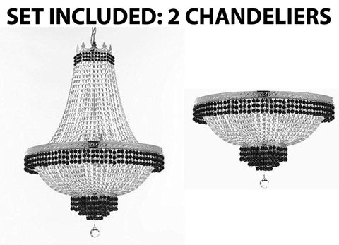 "Set of 2-1 French Empire Crystal Chandelier Lighting Trimmed w/Jet Black Crystal! H36"" X W30"" and 1 Flush French Empire Crystal Chandelier Lighting Trimmed w/Jet Black Crystal! H18"" X W24"" - B79/CS/870/14 + B79/CS/FLUSH/870/9"