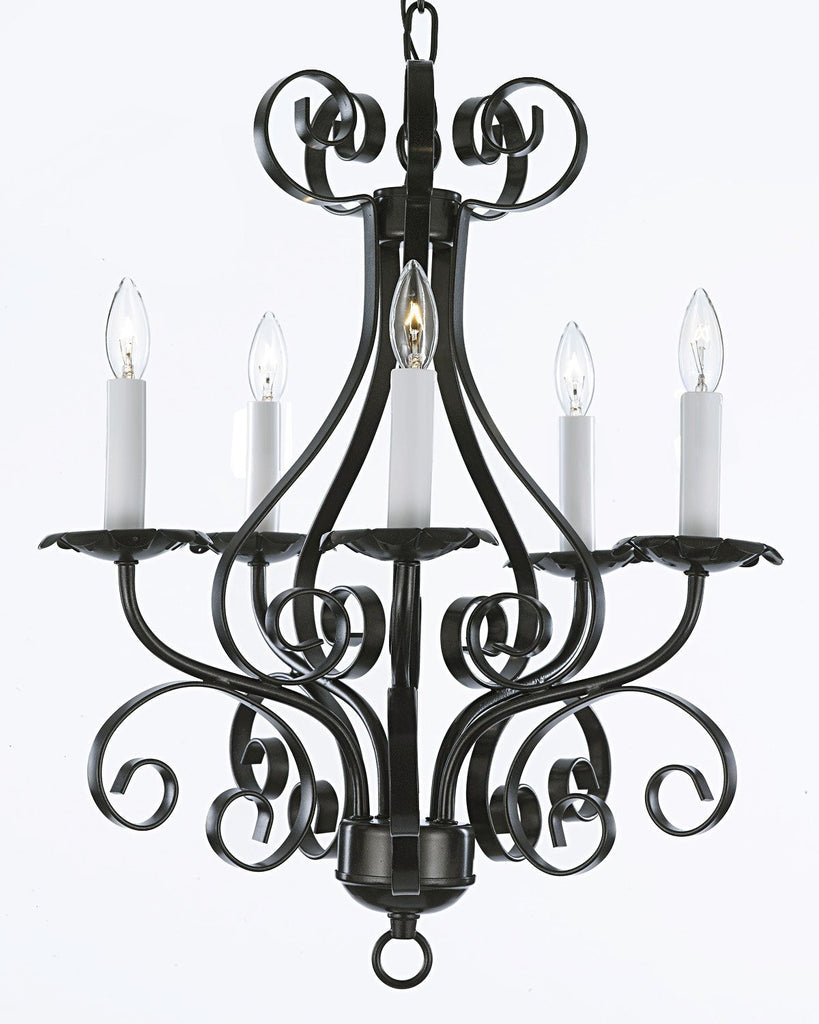 wrought iron chandelier lighting country french 5 light ceiling