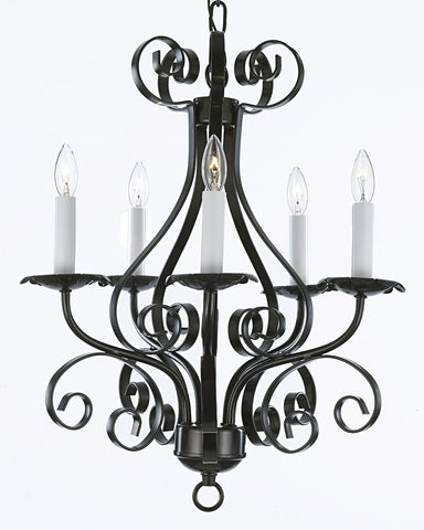 Wrought Iron Chandelier Lighting Country French 5 Light Ceiling Fixture Wrought Country French - 30175/5 BK