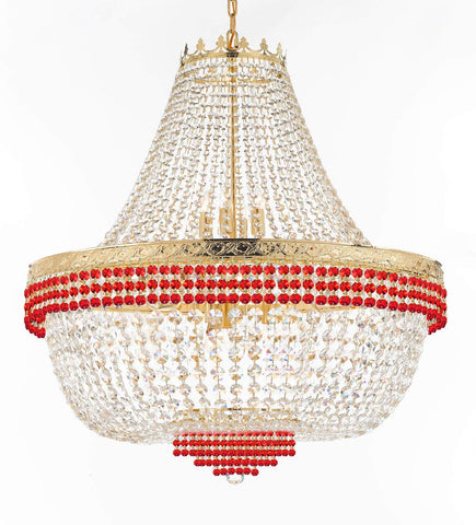 "Nail Salon French Empire Crystal Chandelier Lighting Dressed with Ruby Red Crystal Balls - Great for The Dining Room H 36"" W 36"" 25 Lights - G93-B74/H36/CG/4199/25"