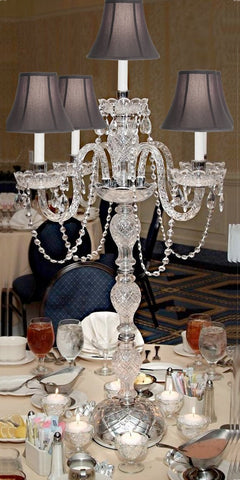 SET OF 5 WEDDING CANDELABRAS CANDELABRA CENTERPIECE CENTERPIECES - GREAT FOR SPECIAL EVENTS! - SET OF 5 w/BLACK SHADES - G46-CANDLE/BLACKSHADES/536/5-Set of 5