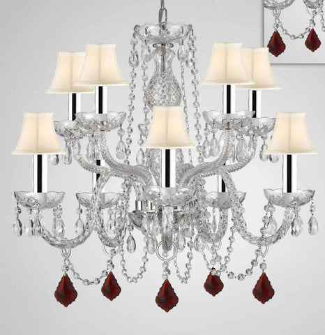 "Chandelier Lighting Crystal Chandeliers H25"" X W24"" 10 Lights w/Chrome Sleeves - Dressed w/Ruby Red Crystals! Great for Dining Room, Foyer, Entry Way, Living Room, Bedroom, Kitchen! w/White Shades - G46-B43/B98/WHITESHADES/CS/1122/5+5"