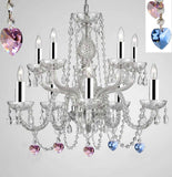 Empress Crystal (Tm) Chandelier Chandeliers Lighting with Blue and Pink Color Crystal w/Chrome Sleeves! - G46-B43/B85/B21/1122/5+5