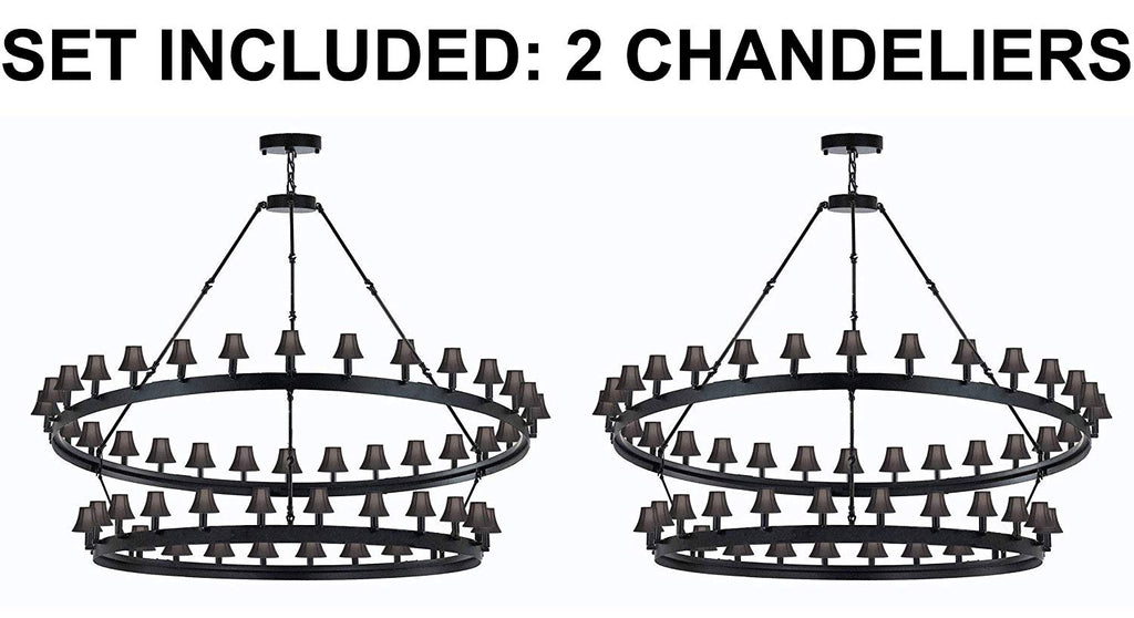 "Set of 2 - Wrought Iron Vintage Barn Metal Camino Two Tier Chandelier Chandeliers Industrial Loft Rustic Lighting W 63"" H 60"" w/Black Shades - 2EA G7-BLACKSHADES/3428/54"