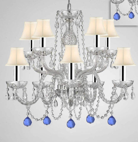 "Chandelier Lighting Crystal Chandeliers H25"" X W24"" 10 Lights w/Chrome Sleeves - Dressed w/Blue Crystal Balls! Great for Dining Room, Foyer, Entry Way, Living Room, Bedroom, Kitchen! w/White Shades - G46-B43/B99/WHITESHADES/CS/1122/5+5"
