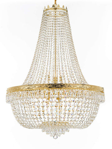 "Nail Salon French Empire Crystal Chandelier Lighting - Great for The Dining Room, Foyer, Entryway, Family Room, Bedroom, Living Room and More! H 50"" W 36"" - G93-H50/CG/4199/25"