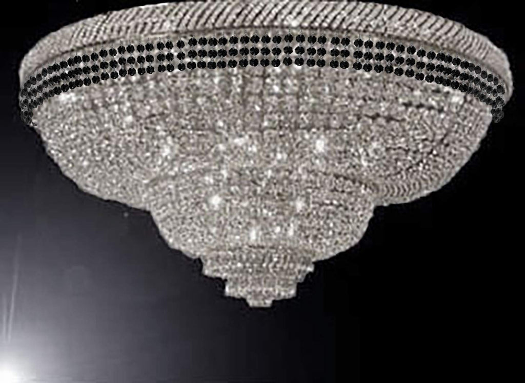 "Flush French Empire Crystal Chandelier Chandeliers Moroccan Style Lighting Trimmed with Jet Black Crystal! Good for Dining Room, Foyer, Entryway, Family Room and More! H29"" X W50"" - G93-FLUSH/B79/CS/448/48"