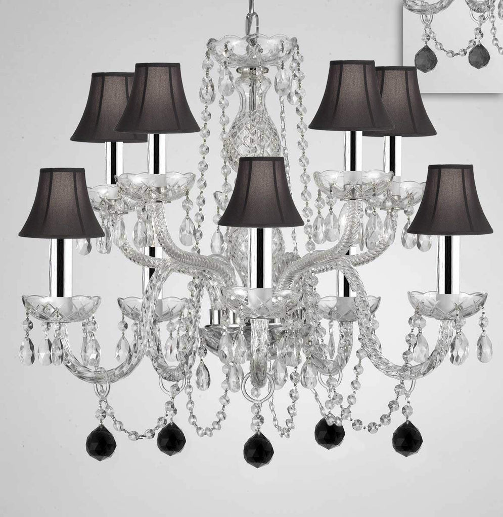 "Chandelier Lighting Crystal Chandeliers H25"" X W24"" 10 Lights - Dressed w/Jet Black Crystal Balls! Great for Dining Room, Foyer, Bedroom, Kitchen! w/Black Shades & w/Chrome Sleeves - G46-B43/B95/BLACKSHADES/CS/1122/5+5"