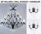 "Set of 3-2 Wrought Iron Wall Sconce Crystal Lighting W 11.5"" H 14"" D 17"" and 1 Wrought Iron Crystal Chandelier Lighting H72 x W60 - Perfect for an Entryway Or Foyer! - 2EA G83-3/556 + 1EA A83-556/41"