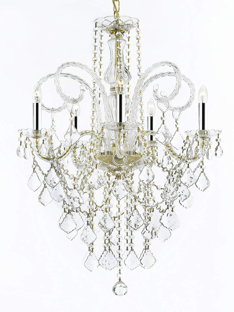 "MURANO VENETIAN STYLE ALL-CRYSTAL CHANDELIER LIGHTING W/CHROME SLEEVES H30"" X W24"" - G46-B43/CG/3/385/5"