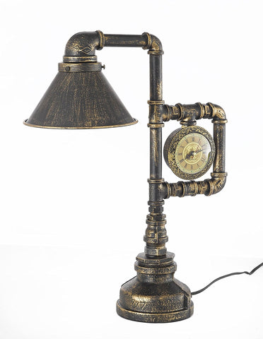 "Antique reproduction Lamp Industrial Pipe Steampunk Table Lamp with Clock H 18"" W 14"" - G7-3228/1"
