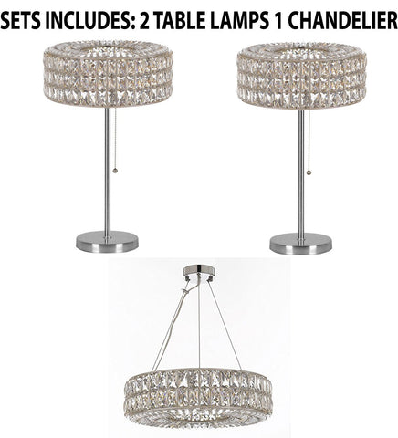 "Set of 3 - 2 Crystal Spiridon Ring Modern / Contemporary Table Lamp Lighting H 28"" W15"" & 1 Crystal Spiridon Ring Chandelier Modern / Contemporary Lighting Pendant 20"" Wide - Good for Dining Room! - 2 EA TL/3063/3 + 1 EA 3063/8"