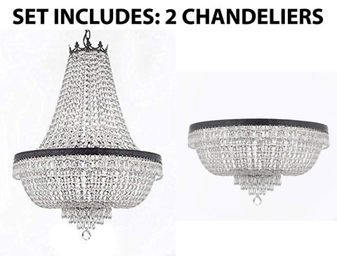 "Set of 2-1 French Empire Crystal Chandelier Lighting H36"" X W30"" W/Dark Antique Finish! and 1 French Empire Crystal Flush Chandelier Lighting H21"" X W30"" w/Dark Antique Finish! - 1EA CB/870/14 + 1EA FLUSH/CB/870/14"