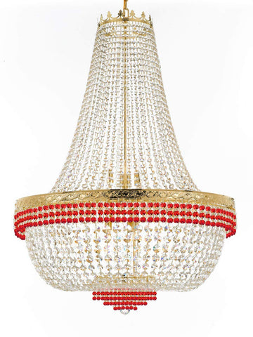 "Nail Salon French Empire Crystal Chandelier Lighting Dressed with Ruby Red Crystal Balls - Great for The Dining Room H 50"" W 36"" 25 Lights - G93-B74/H50/CG/4199/25"