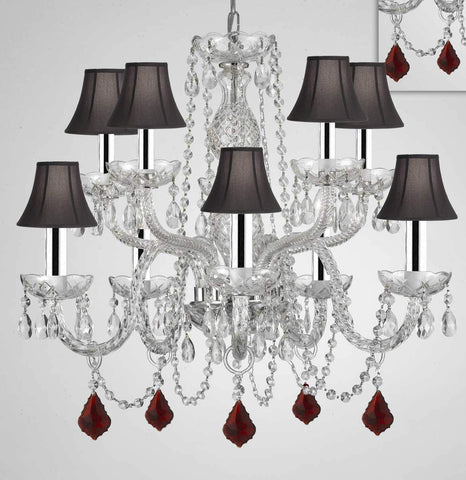"Chandelier Lighting Crystal Chandeliers H25"" X W24"" 10 Lights w/Chrome Sleeves - Dressed w/Ruby Red Crystals! Great for Dining Room, Foyer, Entry Way, Living Room, Bedroom, Kitchen! w/Black Shades - G46-B43/B98/BLACKSHADES/CS/1122/5+5"